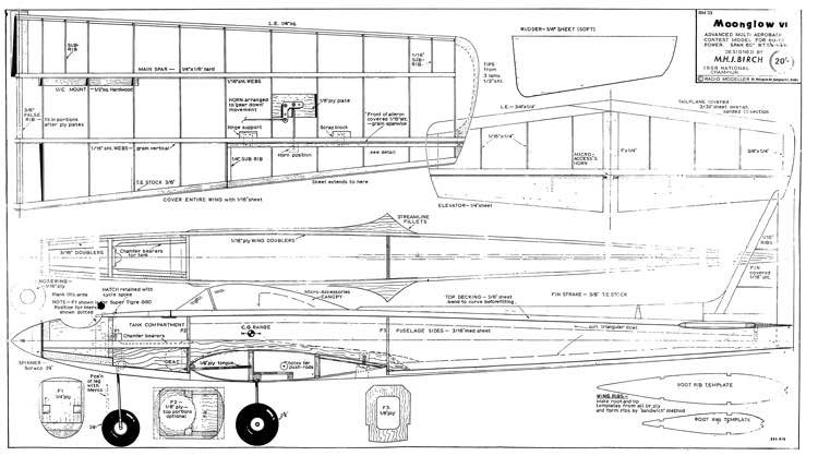 Moonglow 60in model airplane plan