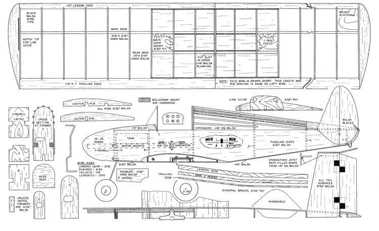 Mox Nix MAN 01-68 model airplane plan