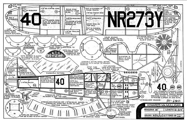 Mr.Mulligan 16in model airplane plan