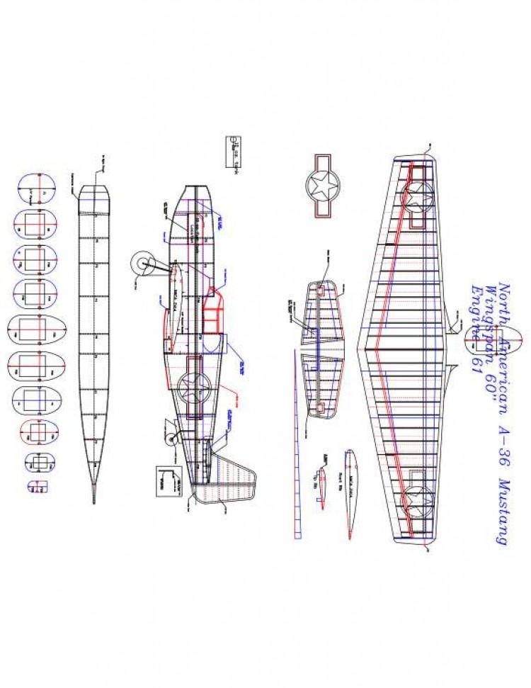 NORTH AMERICAN A-36 Model 1 model airplane plan