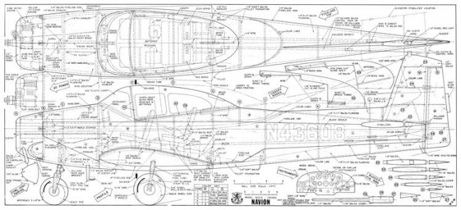 Navion 67in WAM model airplane plan