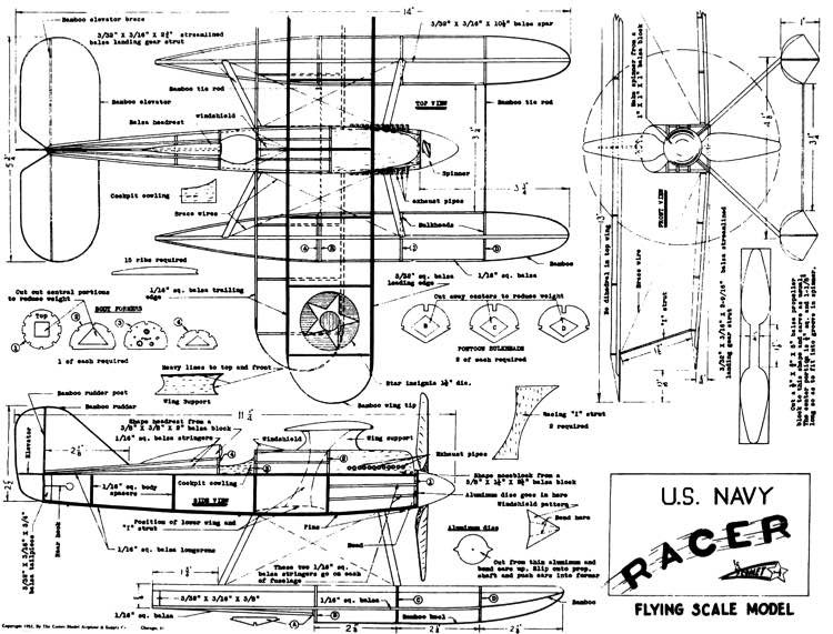 Curtiss R3C-2 Navy Racer model airplane plan