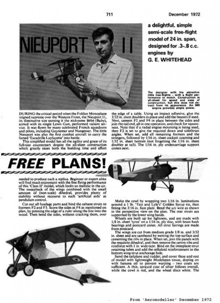 Neuport 11 model airplane plan