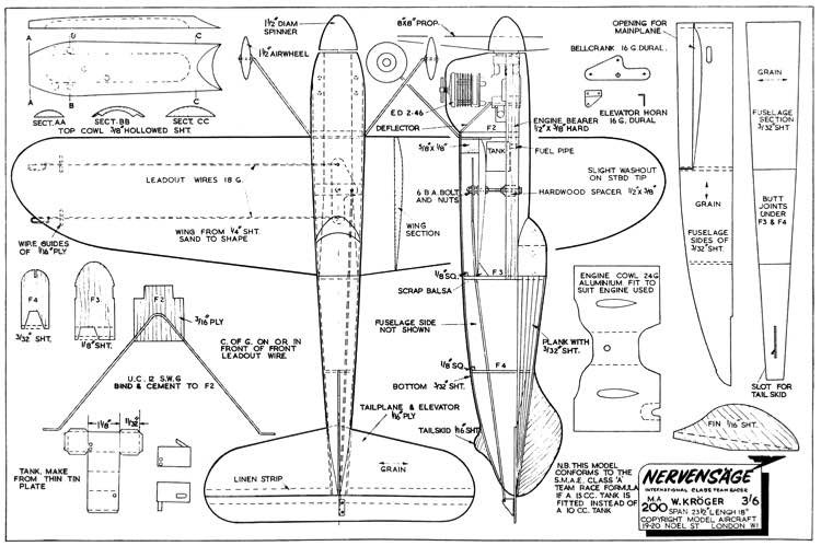 Nevernsage 24in model airplane plan