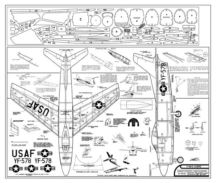 North American F-86D Sabre by Comet model airplane plan