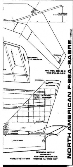 North American F86A Sabre 2 model airplane plan