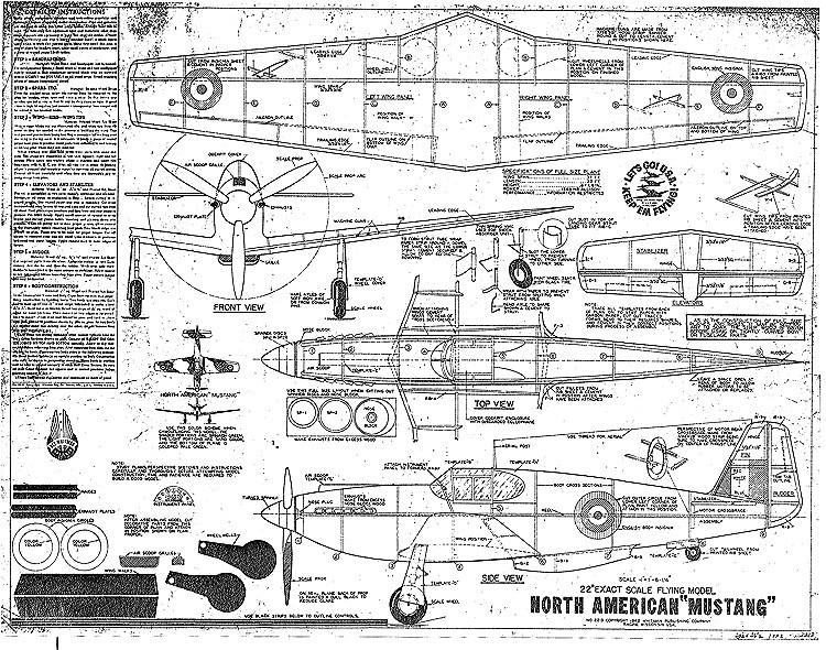 Whitman P-51B Mustang model airplane plan