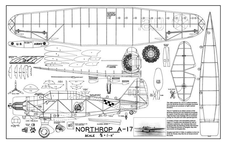 Northrop A-17 model airplane plan