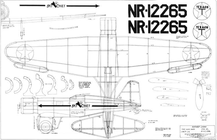 Northrop Gamma 2A Sky Chief model airplane plan