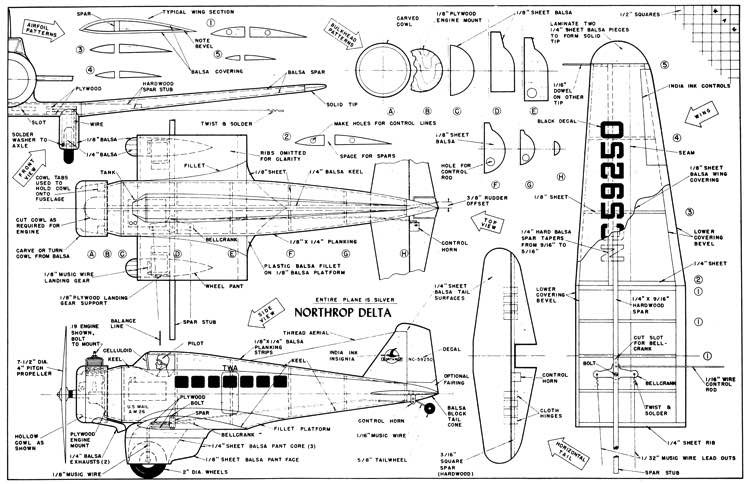 Northrop Delta WAM model airplane plan