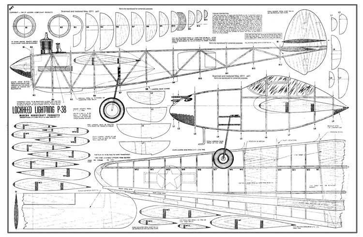 P-38 model airplane plan