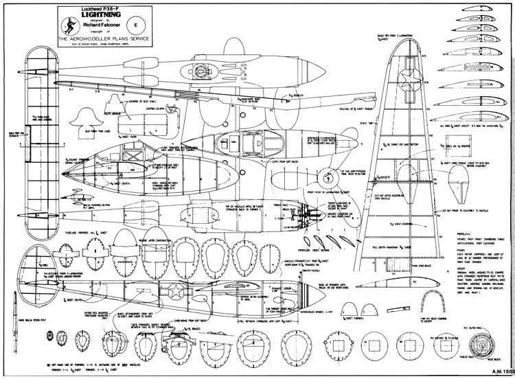 P-38F Lightning model airplane plan