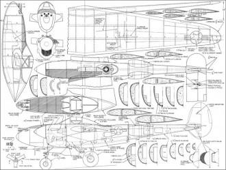 P-38J Lightning model airplane plan