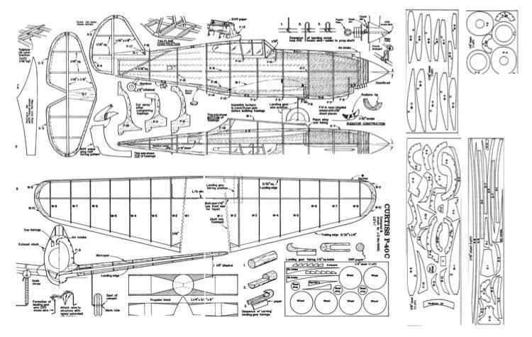 P-40C model airplane plan
