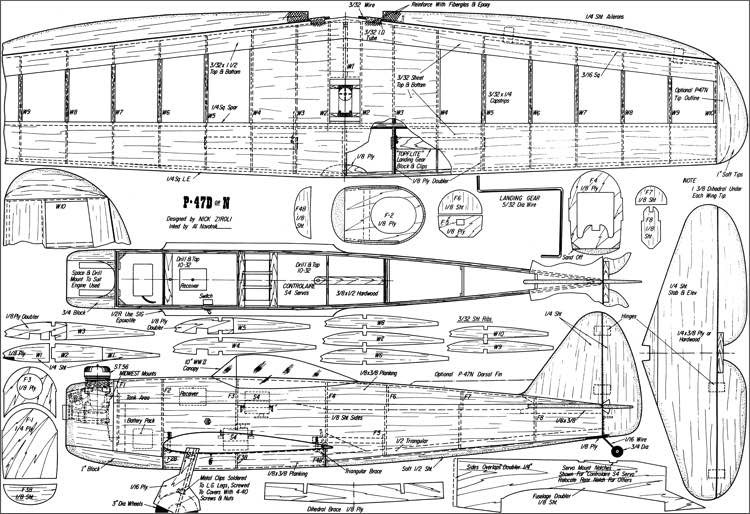P-47D model airplane plan