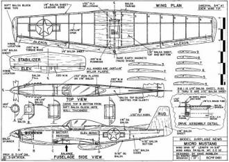 Micro P-51 Mustang model airplane plan