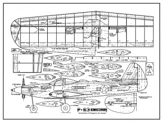 P-63 King Cobra 48in CL model airplane plan