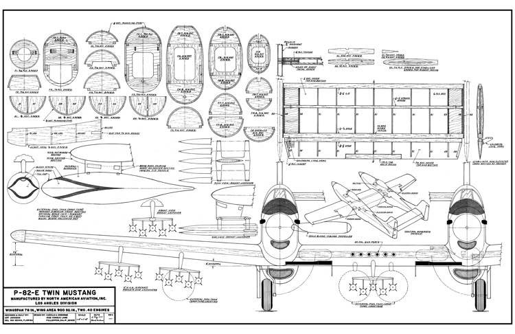 P-82E Twin Mustang 78in model airplane plan