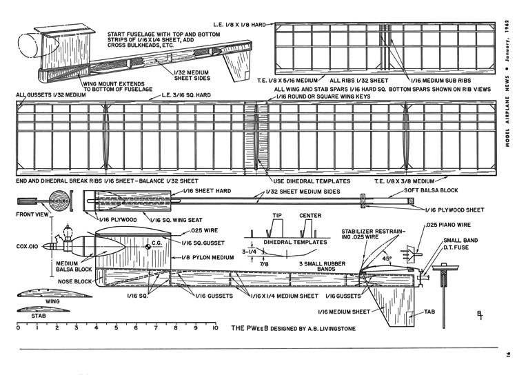 P-Wee-B MAN-01-62 model airplane plan