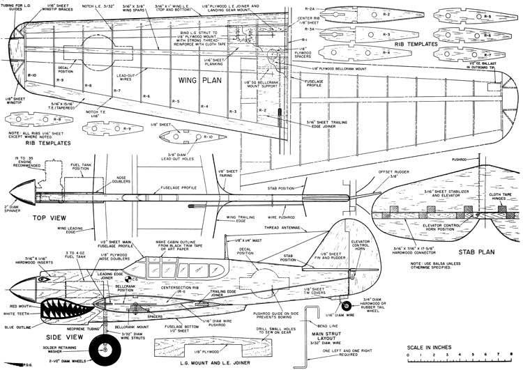 P40 Combat model airplane plan