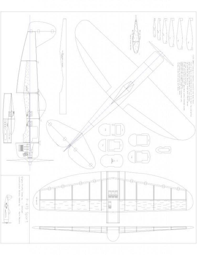 P47 Model 1 model airplane plan