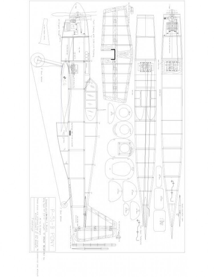 P51B Pony model airplane plan