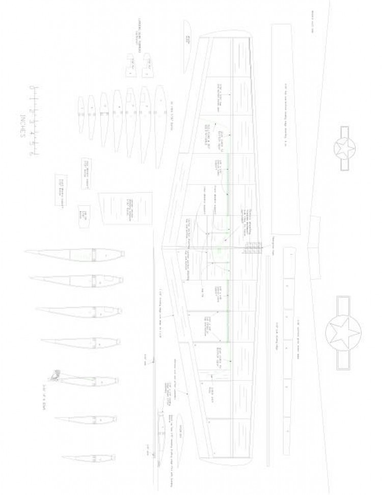 P51 wing Model 1 model airplane plan