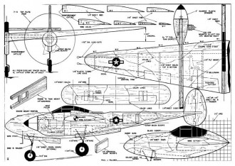 Palanek P-38 model airplane plan