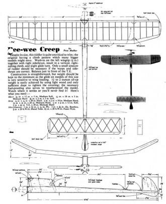 Pee Wee Creep model airplane plan