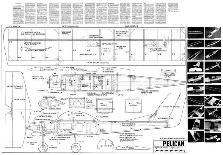 Pelican 50in model airplane plan