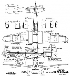 Percival Mew Gull 16in model airplane plan