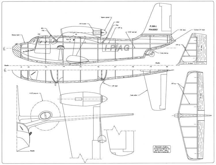 Piaggio P136-L model airplane plan