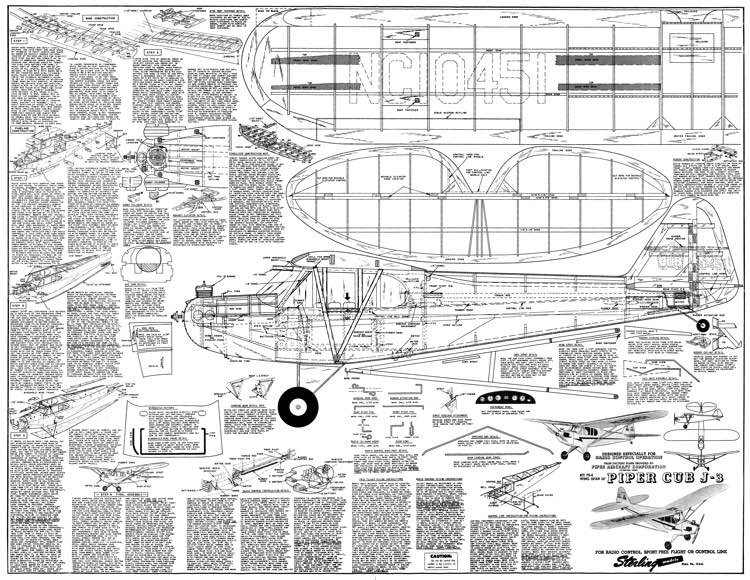 Piper J-3 Cub 54in model airplane plan