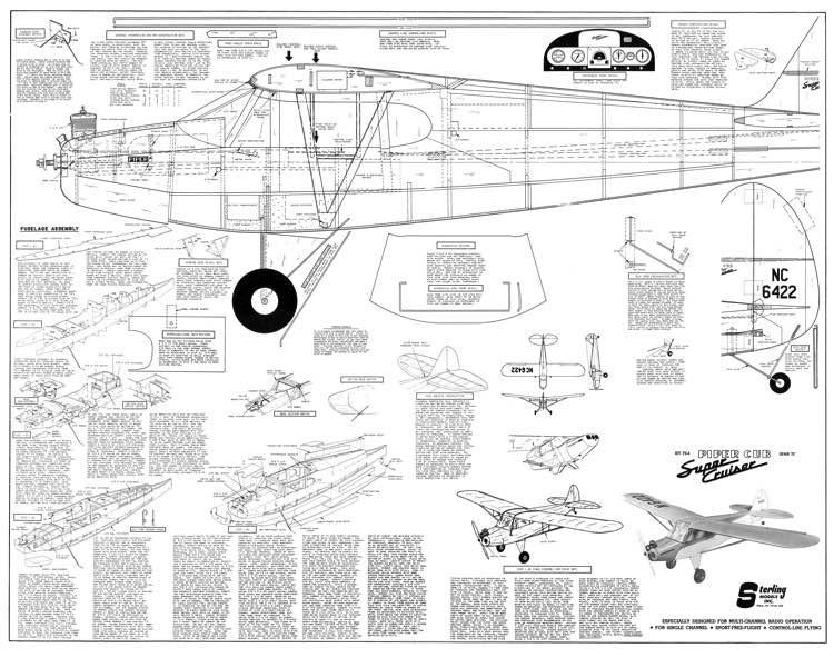 Piper Super Cruiser 72in model airplane plan