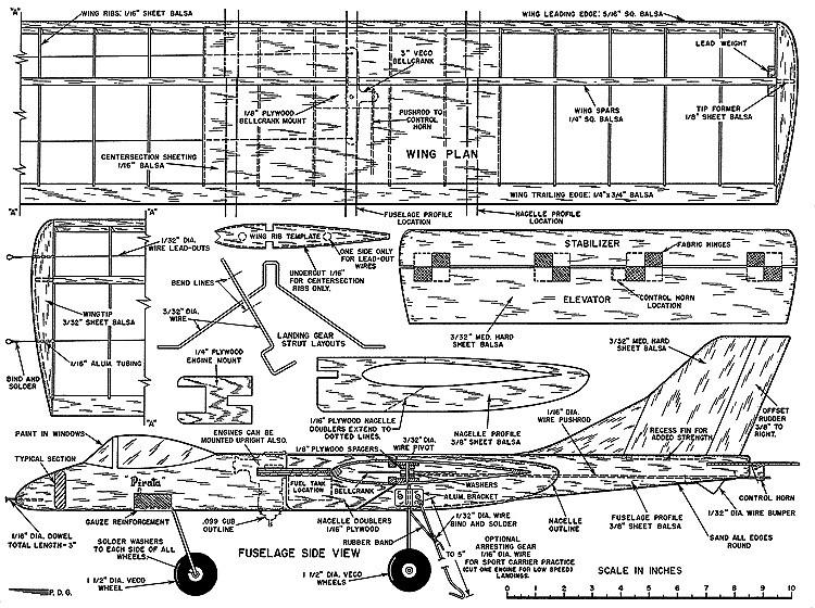 Pirata Twin-Young-Men-01-56 model airplane plan