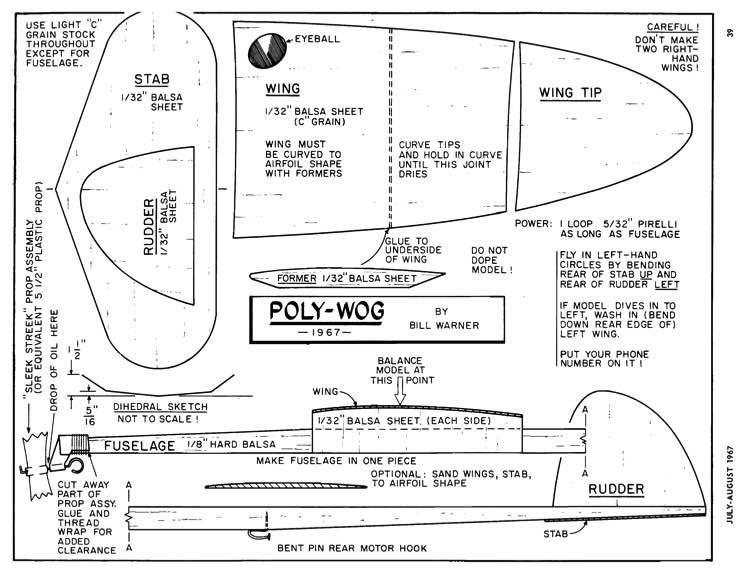 Polly Wog-Sig Air Modeler 07-08-1967 model airplane plan