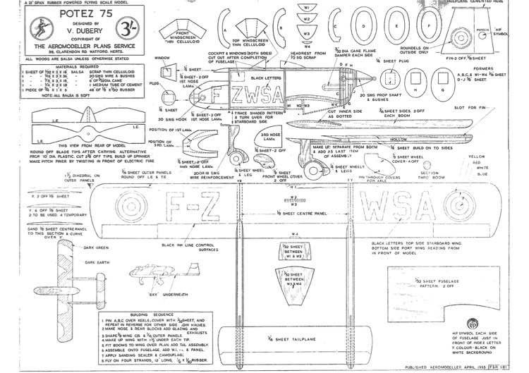 Potez75GroundAttack model airplane plan