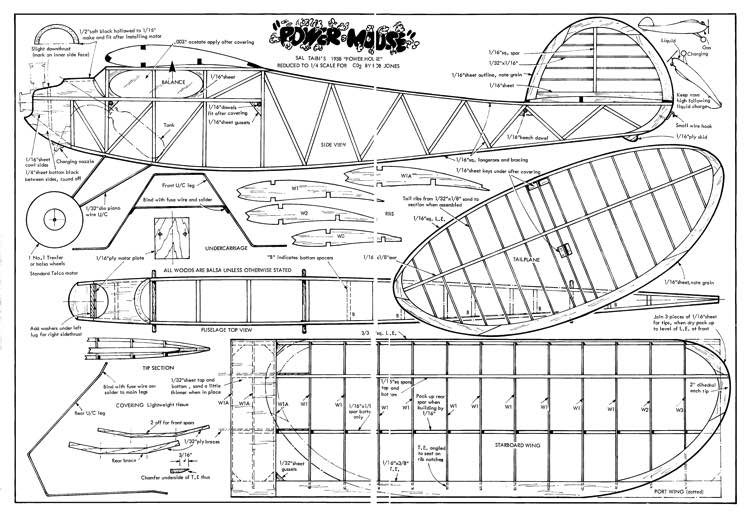 Power Mouse model airplane plan