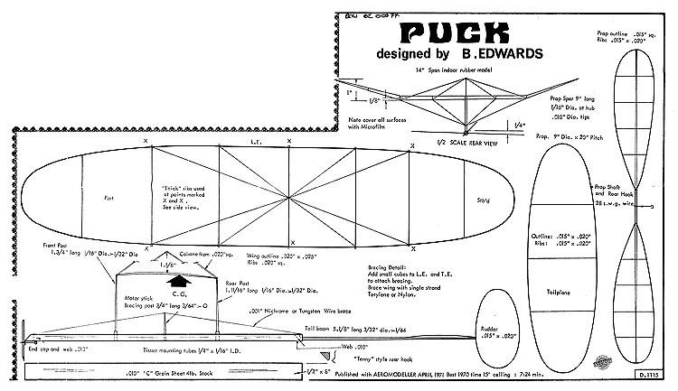 Puck indoor model airplane plan