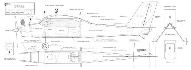 Pulga 36in model airplane plan