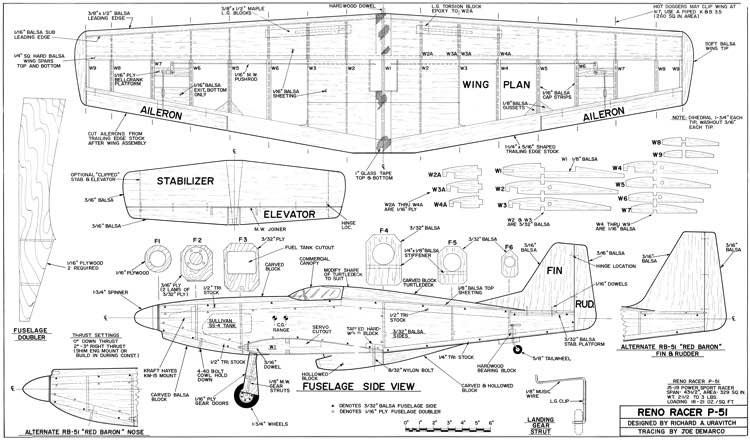 Reno Racer P-51 model airplane plan
