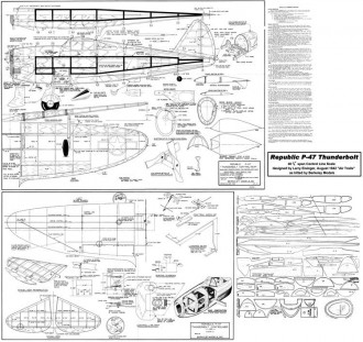 Republic P-47 Thunderboltt model airplane plan