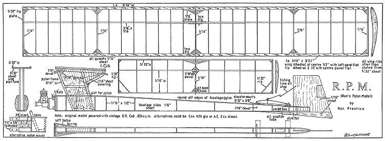 R.P.M. Rons Pylon Model model airplane plan
