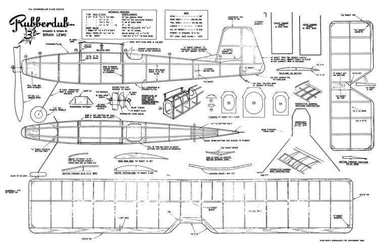 Rubberdub model airplane plan