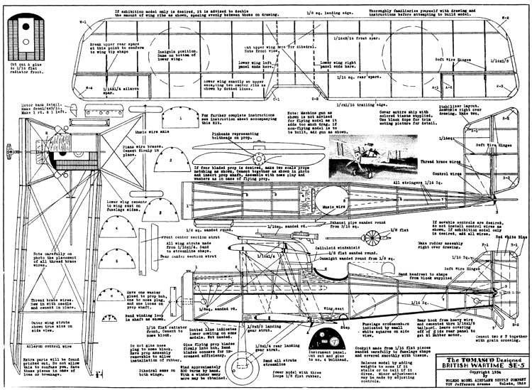 SE5 Tomasco model airplane plan