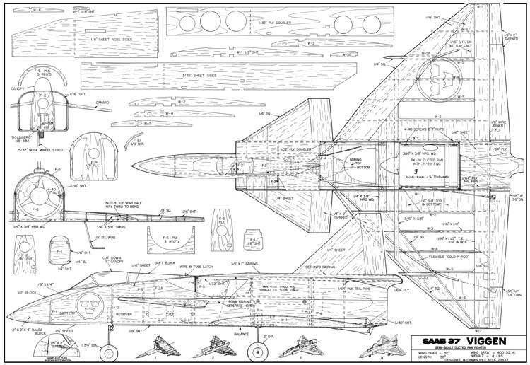 Saab 37 Viggen 32in model airplane plan