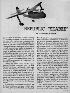 Sea Bee model airplane plan
