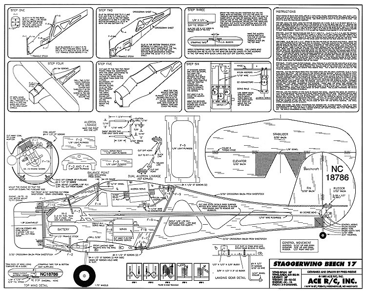 Simple Staggerwing ACE model airplane plan