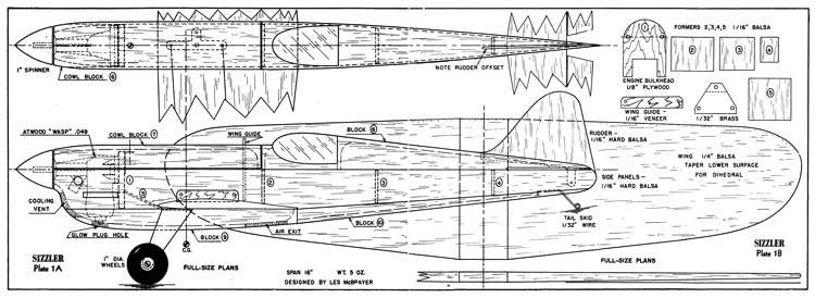 Sizzler model airplane plan