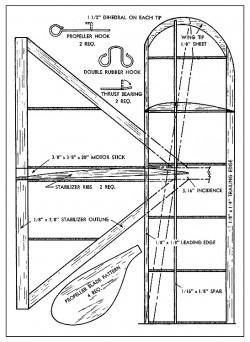 Skidoo 23 rubber model airplane plan